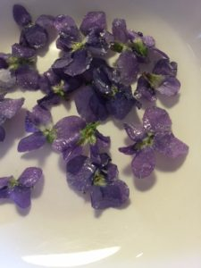 Homemade candied violets